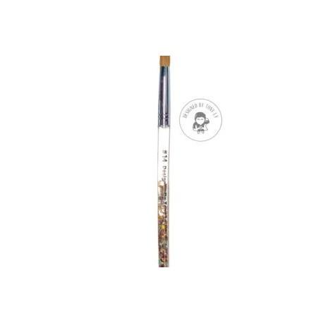 Size 14 Acrylic Brush (Aqua Brush With Glitter)